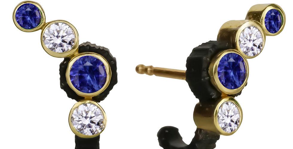 Chroma Climber Blue Sapphire and White Diamond Stud Earring