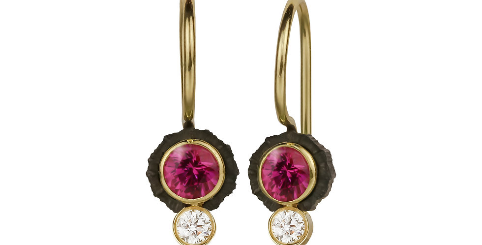 Chroma Two Stone Pink Sapphire and Diamond Wire Earring