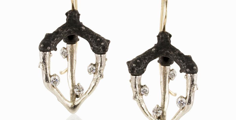 Radiolarian Diamond Triple Talon Wire Earrings