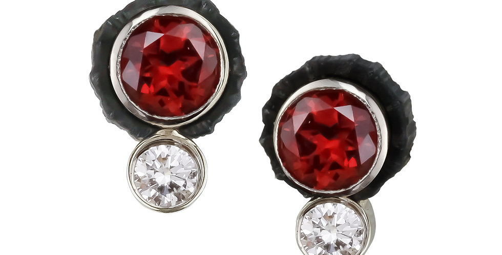 Chroma Two Stone Red Spinel and Diamond Stud Earring