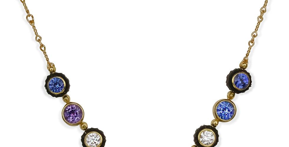Chroma Nine Stone Sapphire and Diamond Necklace