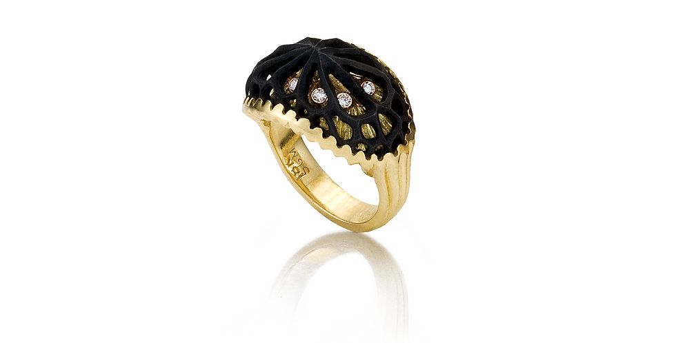 Caged Coral Horizontal Diamond Ring