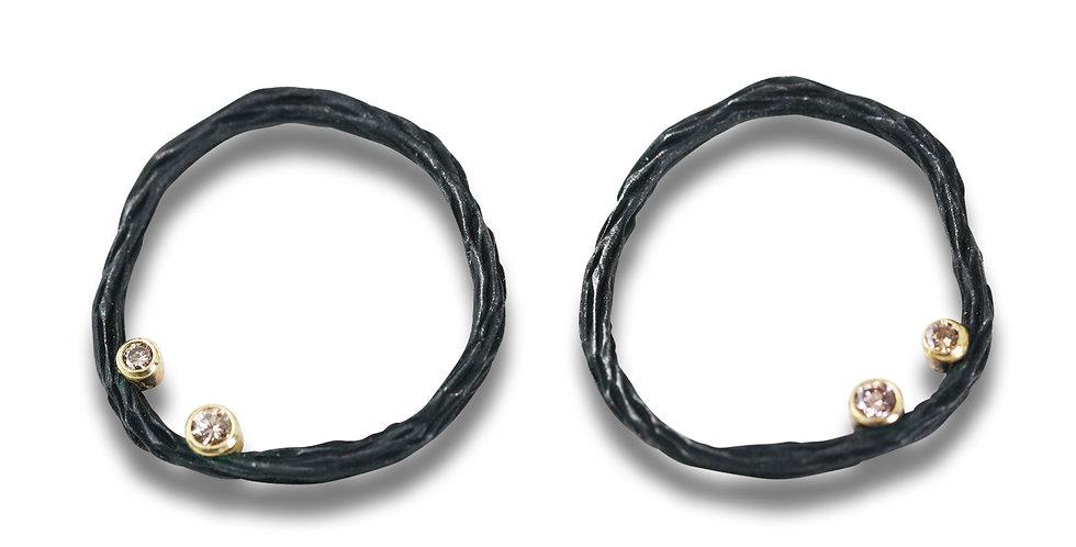Pebble Diamond Medium Circle Post Earrings