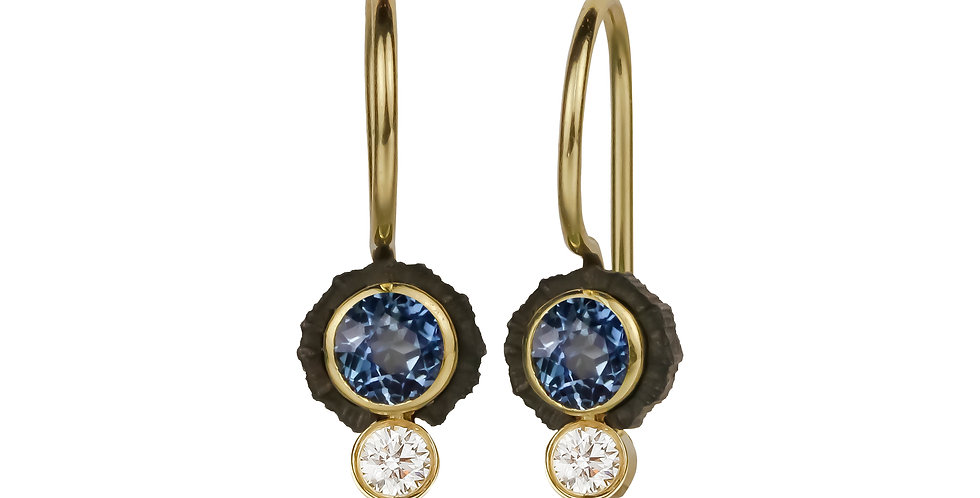 Chroma Two Stone Teal Sapphire and Diamond Wire Earring
