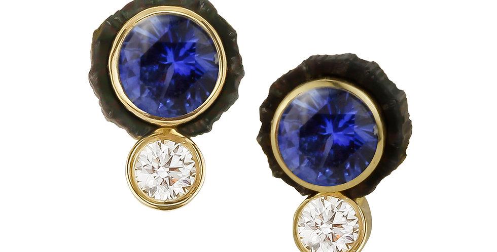 Chroma Two Stone Sapphire and Diamond Stud Earring