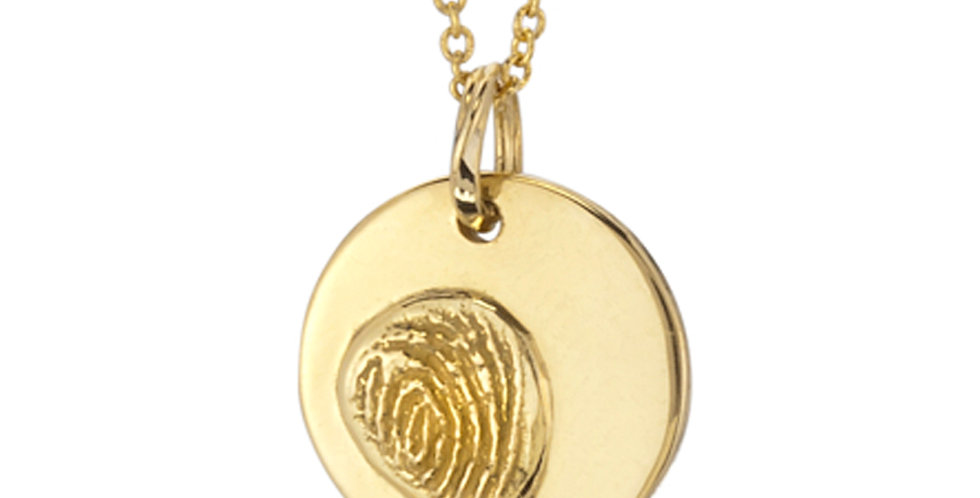 Personalized Fingerprint Large Circle Pendant