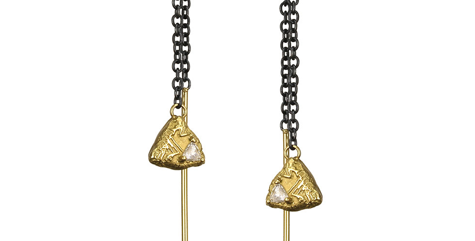 Trigon Threader Diamond Earrings
