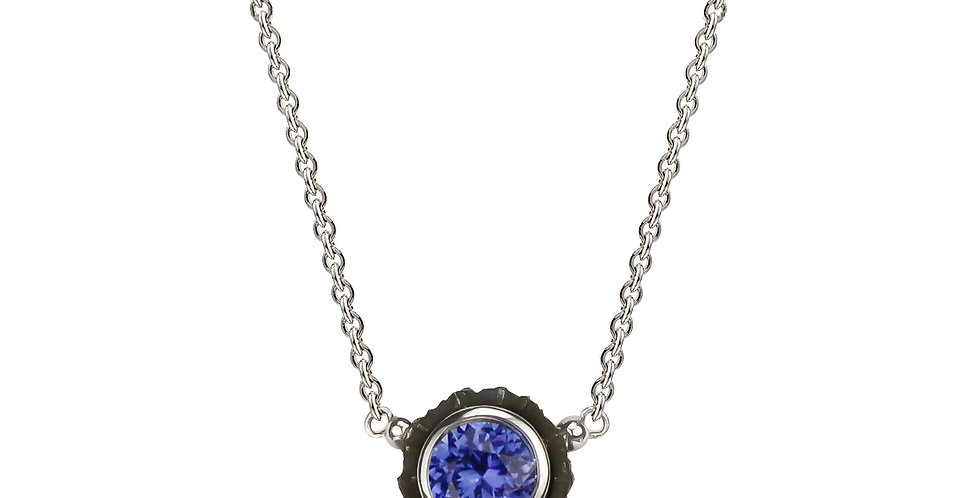 Chroma Two Stone Blue Sapphire and Diamond Pendant