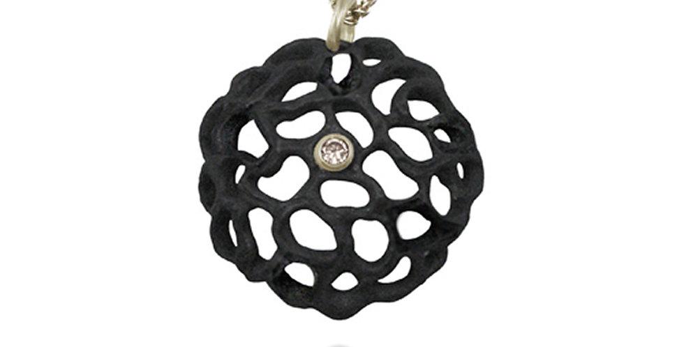 Shadow Small Dome Diamond Circle Pendant