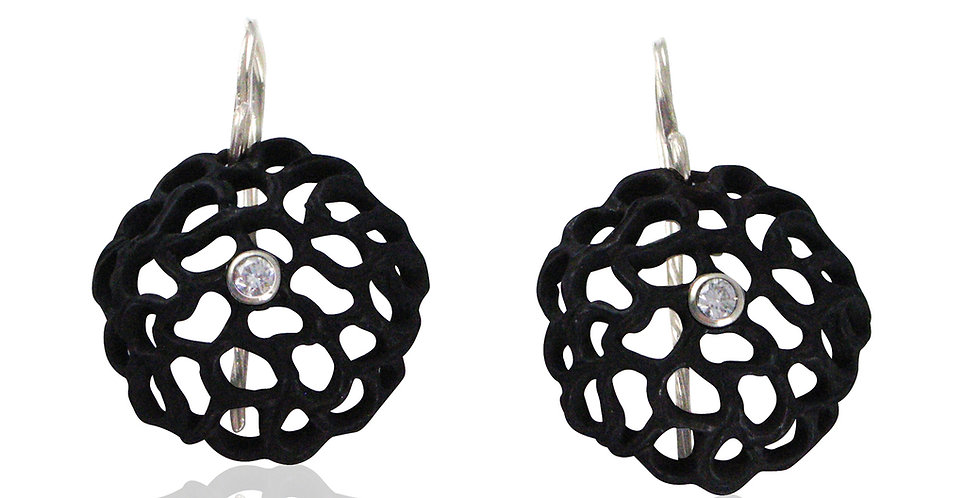 Shadow Small Dome Diamond Circle Wire Earrings