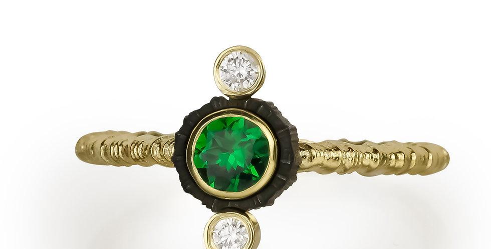 Chroma Triple Stone Vertical Tsavorite Garnet and Diamond Ring