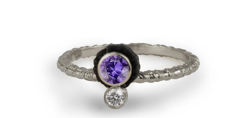 Chroma Double Stone Offset Purple Sapphire and Diamond Ring