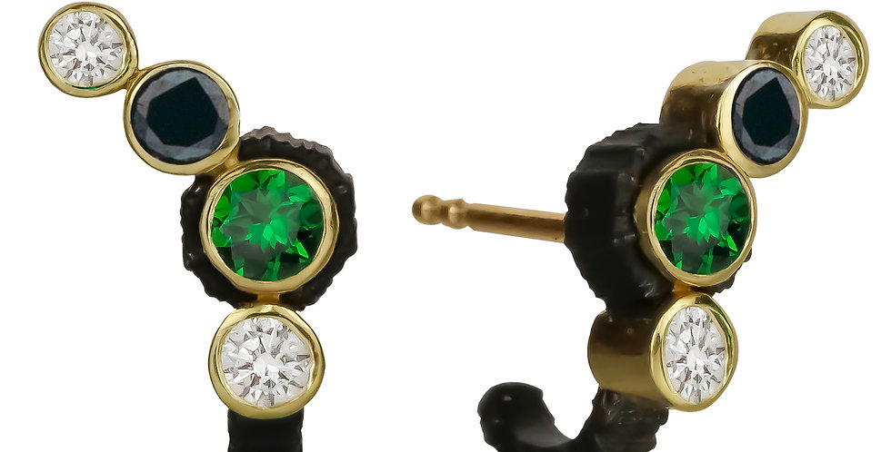 Chroma Climber Tsavorite Garnet, Black and White Diamond Stud Earring