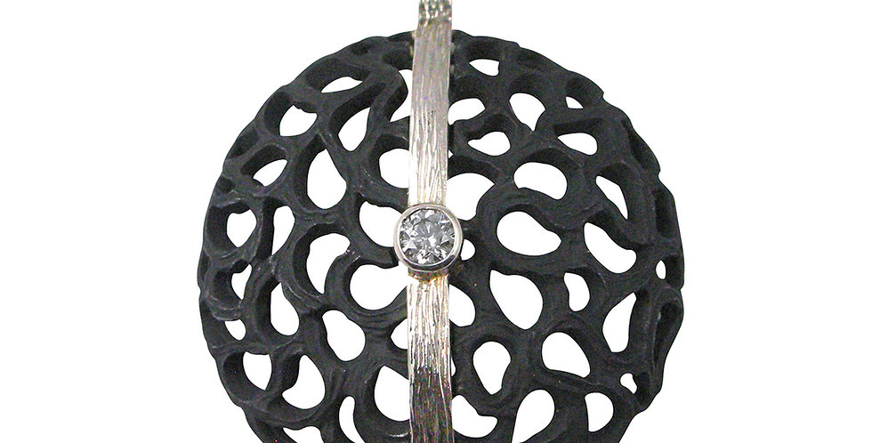 Shadow Large Dome Diamond Circle with Line Pendant