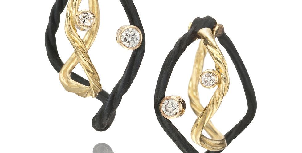 Clover Small Double Wire Diamond Hoop Earrings
