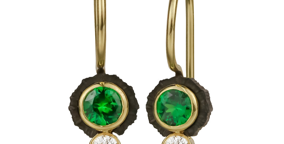 Chroma Two Stone Tsavorite Garnet and Diamond Wire Earrings