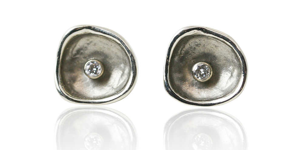Confluence Single Large Cup Diamond Post Earrings
