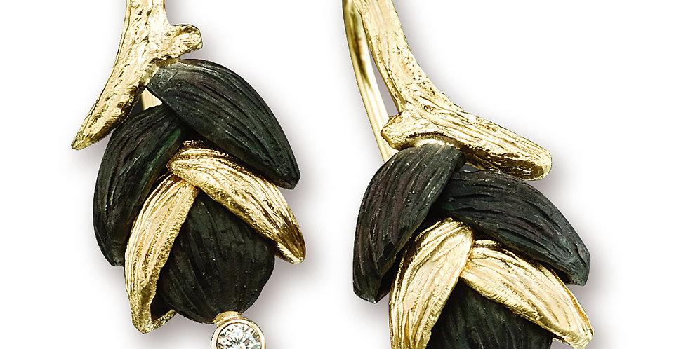Rattlesnake Grass Four Shell Diamond Wire Earrings