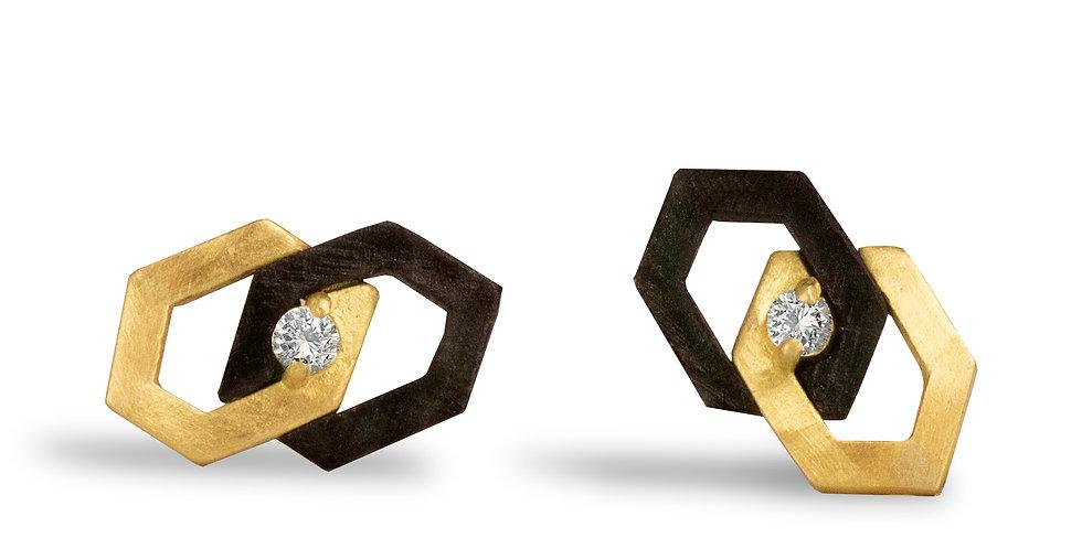 Hex Diamond Interlock Stud Earrings