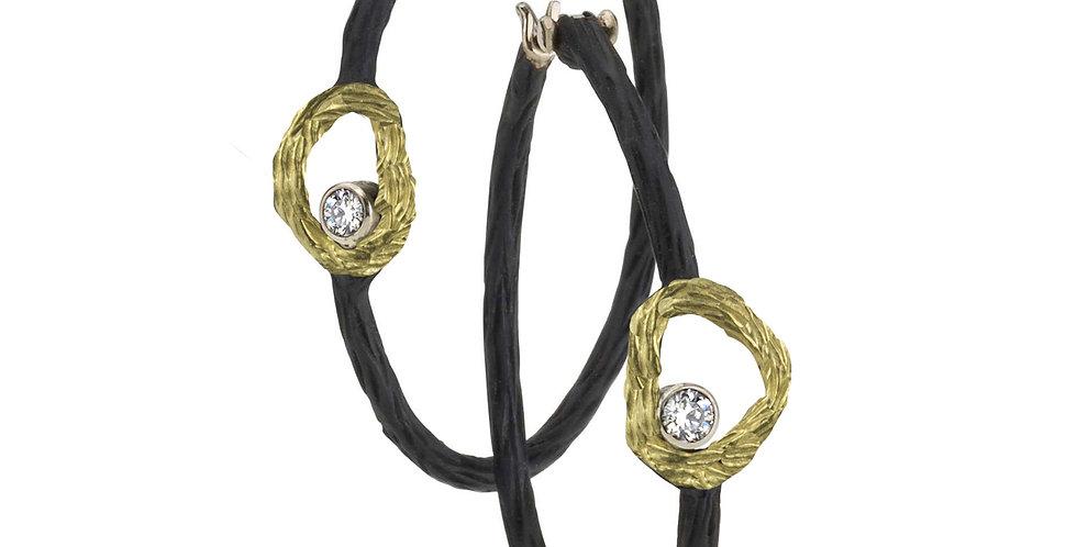 Pebble Diamond Circle Hoop Earrings