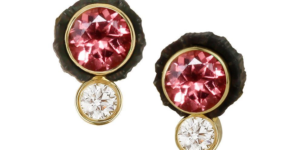Chroma Two Stone Peach Spinel and Diamond Stud Earring