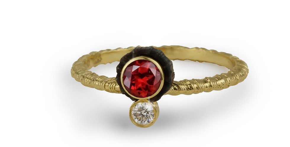 Chroma Double Stone Offset Red Spinel and Diamond Ring