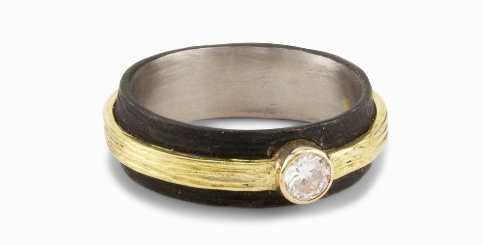 Pebble Raised Center Diamond Two Tone Band