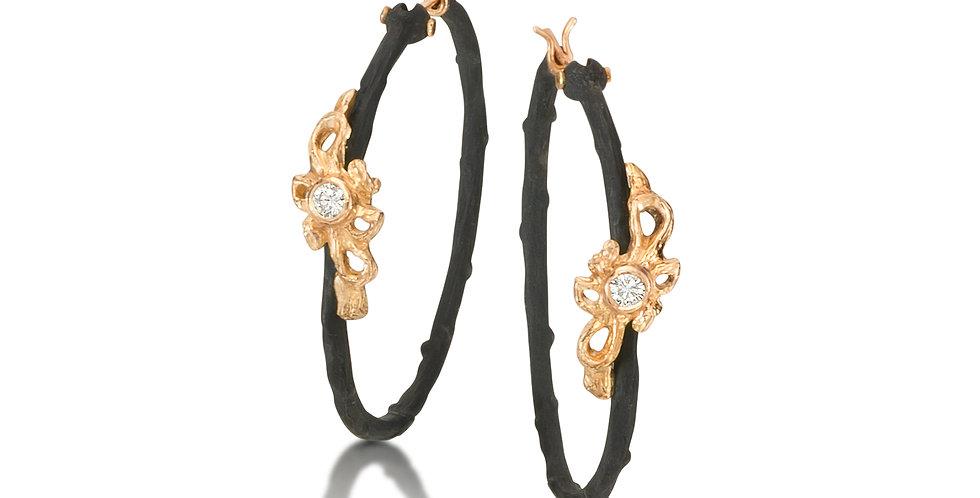 Shadow Diamond Dome Vine Hoop Earrings