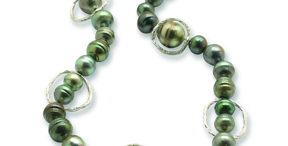 Pebble Link Necklace with Akoya Pearls