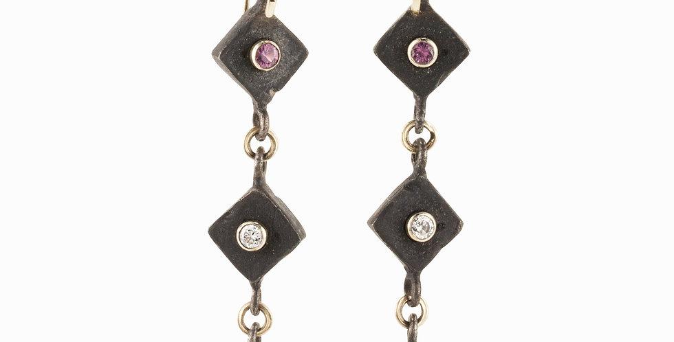 Iron Sapphire and Diamond Earrings