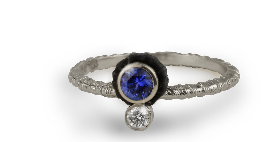 Chroma Double Stone Offset Sapphire and Diamond Ring