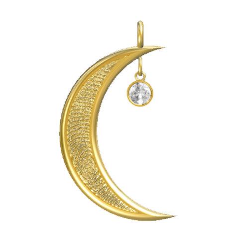 Moon with Diamond Dangle Pendant