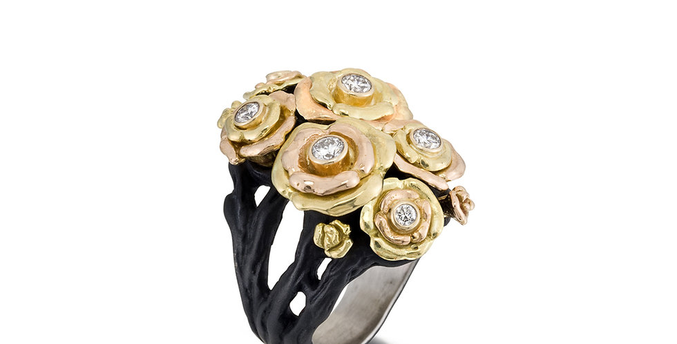 Bee Double Cluster Diamond Ring