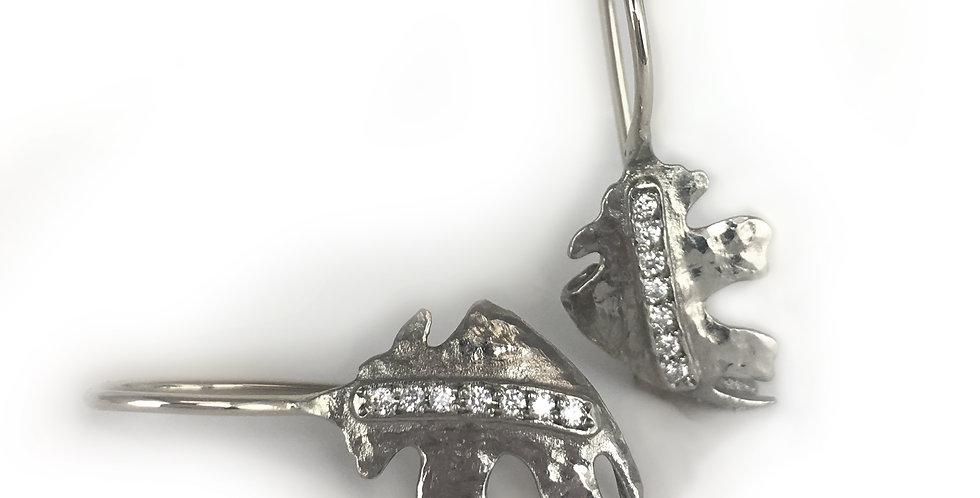 Oak Leaf Diamond Small Leaf Wire Earrings