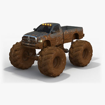 ​Monster Truck Dirty Dodge Ram Low-poly 3D model