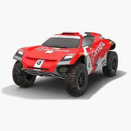 Acciona Sainz XE Team Extreme E Season 2021 race car Low-poly PBR 3D model