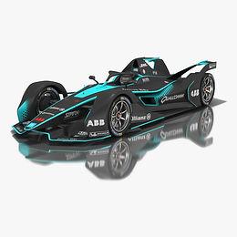 Formula E Low-poly PBR 3D models