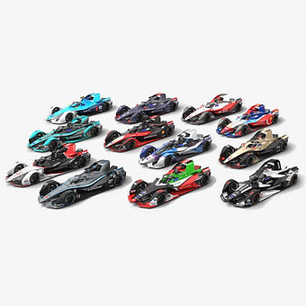 Formula E Season 2019 2020 Race Car Collection Low-poly PBR 3D model