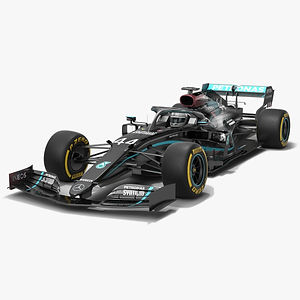 Mercedes F1 W11 Formula 1 Season 2020 New Black Paint Low-poly PBR  3D model