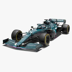 Aston Martin F1 Team 2021 Formula 1 AMR21 race car Low-poly PBR  3D model