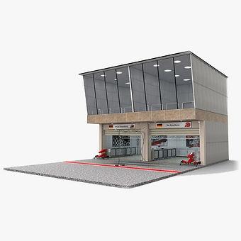 Race Track Pit Lane Garage 3D model