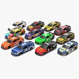 NASCAR Season 2018 Low-poly PBR 3D model