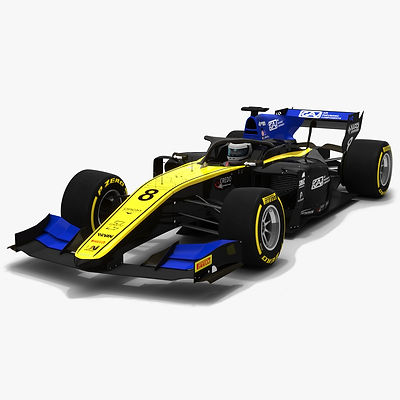 UNI-Virtuosi Racing F2 #8 Formula 2 Season 2019 Low-poly 3D model