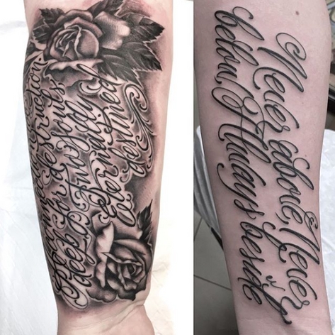 script sleeve walk-in tattoo by Nick Rutherford at Third Eye