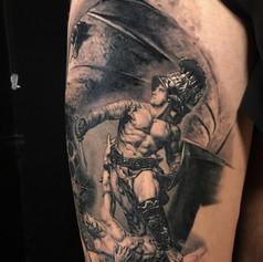 gladiator sleeve tattoo by Marshall at Third Eye Tattoo Melbourne