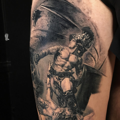 gladiator sleeve tattoo by Marshall at Third Eye Tattoo Melbourne
