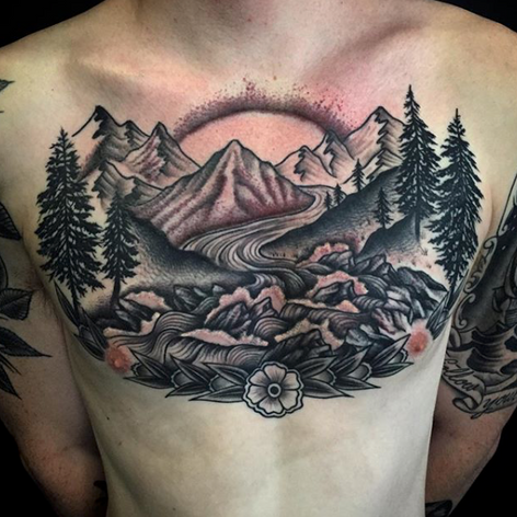 traditional scenic walk-in chest tattoo by Nick Rutherford at Third Eye