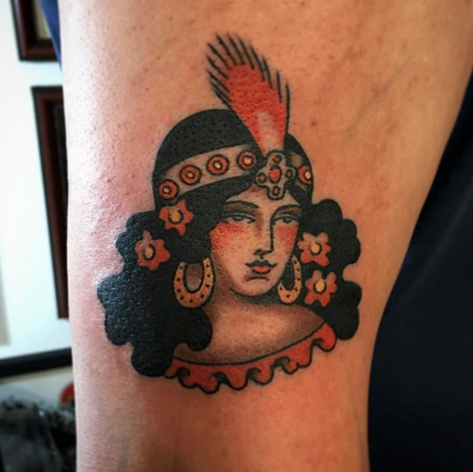 art deco lady tattoo by Nick Rutherford at Third Eye Tattoo Melbourne