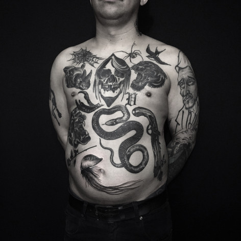 stunning full front blackwork tattoos by Bugsy at Third Eye Tattoo Melbourne