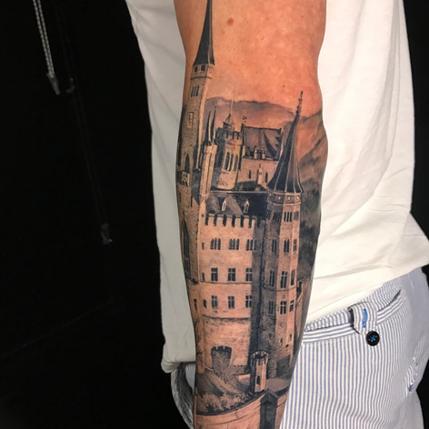castle half sleeve tattoo by Marshall at Third Eye Tattoo Melbourne